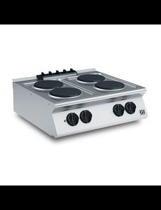 Gastro-Inox Kooktoestel met 4 Ronde Platen | 400V/10.4kW | 800(b)x730(d)x250(h)mm