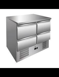 Gastro-Inox Koelwerkbank met 4 Laden | Geforceerde Koeling | 257 Liter |  Van 2°C tot 8°C | 900(b)x700(d)x860(h)mm