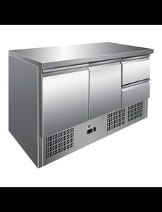 Gastro-Inox Koelwerkbank met 2 Deuren 2 Laden | Geforceerde Koeling | 257 Liter |  Van 2°C tot 8°C | 1365(b)x700(d)x860(h)mm