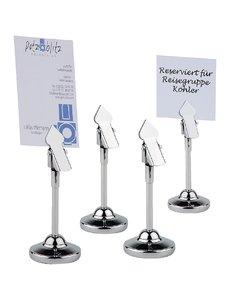 APS Tafelstandaard met clip en 20 blanco kaartjes RVS | Hoogte 10.5cm. | 4 stuks