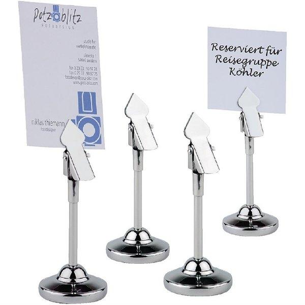 APS APS Tafelstandaard met clip en 20 blanco kaartjes RVS | Hoogte 10.5cm. | 4 stuks