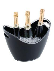 APS Champagne koeler voor 3 flessen acryl zwart | 35x27xH25.5cm.