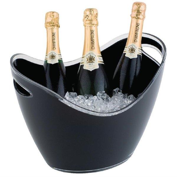 APS APS Champagne koeler voor 3 flessen acryl zwart | 35x27xH25.5cm.
