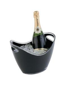 APS Champagne koeler voor 2 flessen acryl zwart | 20x27xH21cm.