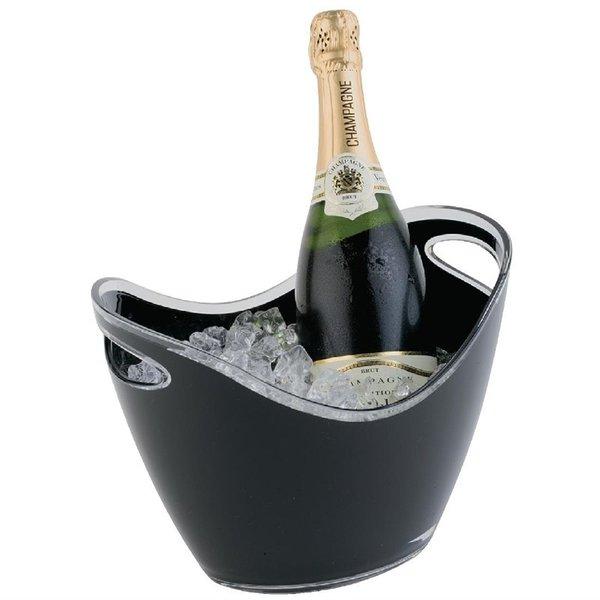 APS APS Champagne koeler voor 2 flessen acryl zwart | 20x27xH21cm.