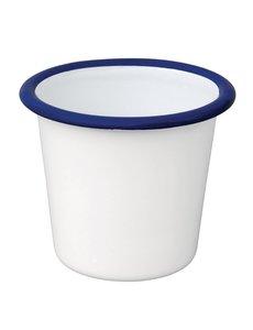 Olympia Emaille sauspotje wit en blauw 11,4cl | Per 6 stuks