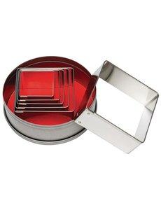 Vogue Stekerdoos vierkant glad zacht staal | 3.6 - 7 cm. | Set van 6