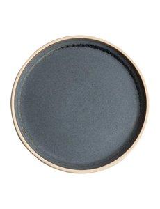Olympia Canvas blauw graniet platte borden blauw Ø25cm   Per 6 stuks