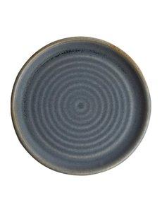 Olympia Canvas blauw graniet borden met smalle rand Ø18cm   Per 6 stuks
