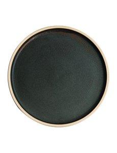 Olympia Canvas donkergroen platte borden Ø25cm   Per 6 stuks