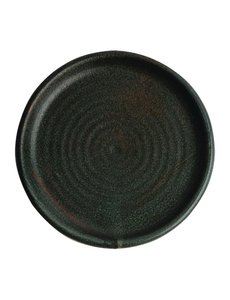 Olympia Canvas donkergroen borden met smalle rand Ø18cm   Per 6 stuks