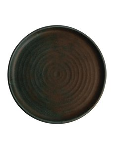 Olympia Canvas donkergroen borden met smalle rand Ø26,5cm   Per 6 stuks