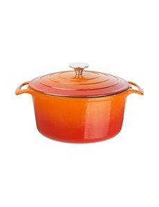 Vogue Ronde gietijzeren braadpan oranje 4 Liter | 12,5(h) x 23,5(Ø)cm