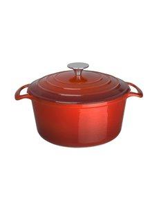 Vogue Ronde gietijzeren braadpan rood 3,2 Liter | 12(h) x 20,5(Ø)cm