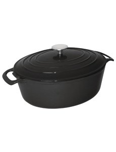 Vogue Ovale gietijzeren braadpan zwart 6 Liter | 12,5(h)x 23(b)x 30,5(d)cm