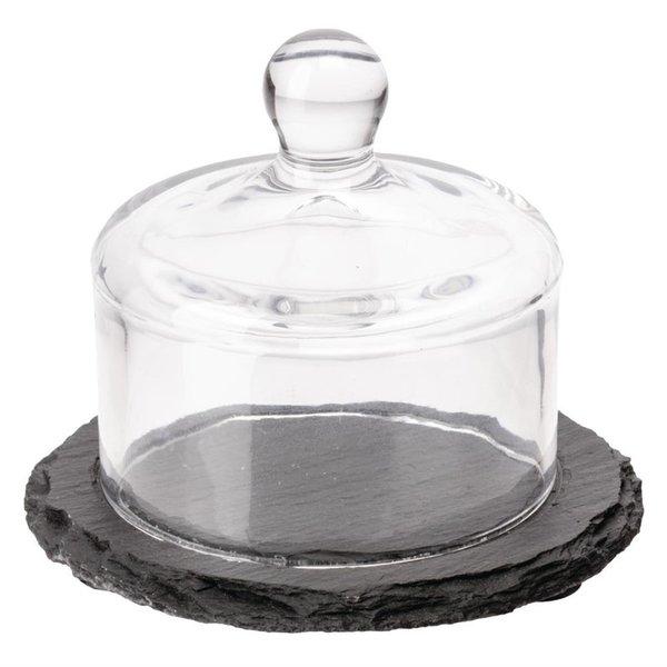 APS APS slate leistenen botervloot met glazen deksel