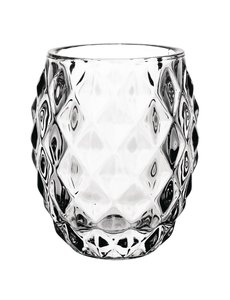 Olympia Theelichthouder transparant diamant | Hoogte 10 cm.