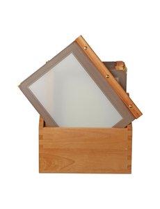 Securit Bruine menumappen met houten box A4 | 20 stuks