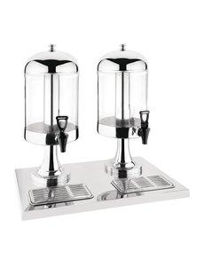Olympia Drankdispenser met buis voor ijsblokjes 2x 6.5 liter   Kunststof en RVS