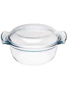 Pyrex Ronde glazen casserole / braadpan 1,5 Liter | 9,5(h) x 24,5(b) x 19,5(d)cm