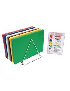 Hygiplas LDPE snijplanken set met rek   450x300x12mm   6 kleuren