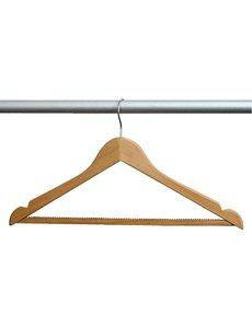Bolero Houten garderobehanger met standaard haak | Antislip broeklat en rokinkeping | 10 stuks