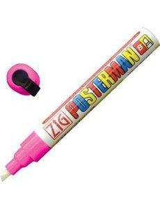 Securit Zig Posterman weerbestendige krijtstift roze    Bijtelvormige punt 6mm