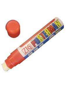 Securit Zig Posterman weerbestendige krijtstift rood    Bijtelvormige punt, 6 mm