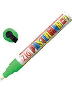 Securit Zig Posterman weerbestendige krijtstift groen   Bijtelvormige punt 6 mm