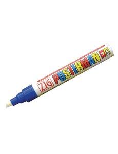Securit Zig Posterman weerbestendige krijtstift blauw   Bijtelvormige punt 6 mm