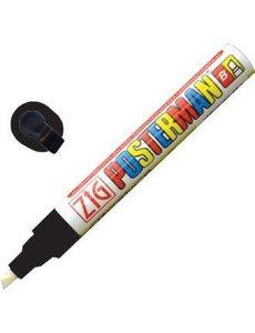 Securit Zig Posterman weerbestendige krijtstift zwart | Bijtelvormige punt 6 mm