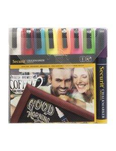 Securit 8 stuks wisbare krijtstiften | Bijtelvormige punt van 6mm