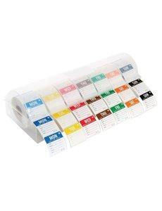 Vogue Afneembare kleurcode stickers met kunststof dispenser |  49x13.5xH6.5 cm.