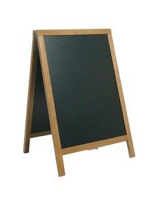 Securit Duplo Teakhouten Stoepbord | Schrijfvlak 47x68cm | 85x55cm