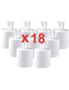 Jantex Centrefeed 2-laags Handdoekrollen Wit 120m | Ca. 400 vellen per rol | Per 18 stuks
