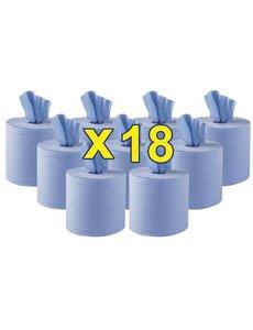Jantex Centrefeed Handdoekrollen 2-laags Blauw 120m | Ca. 400 vellen per rol | 18 stuks