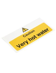 Vogue Caution - Very hot water' waarschuwingsbord | Zelfklevend | 20xH10cm.