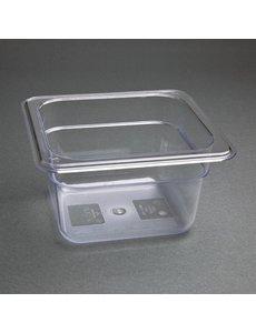 Vogue Polycarbonaat bak transparant GN 1/6 - 100mm | 176x162mm.