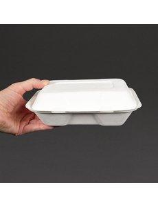 Vegware Composteerbare voedseldozen met scharnierdeksel 23x15cm. | 200 stuks