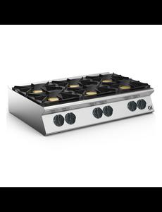Gastro-Inox Gaskooktoestel met 6 branders tafelmodel 700HP | 6x 6kW | 1200x730xH250mm.