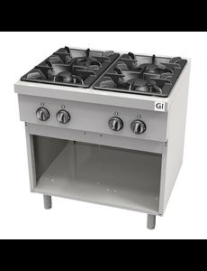 Gastro-Inox Gasfornuis met 4 branders en open onderkast | 21.7kW | 800x700xH850mm.
