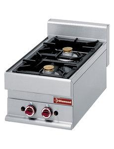 Diamond Gasfornuis met 2 branders 1x 3,6 kW en 1x 5 kW | 400x650xH280/380 mm.