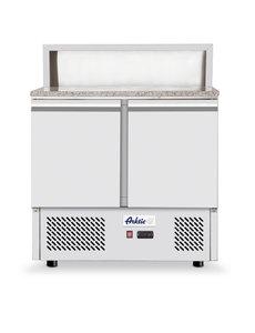 Hendi Pizza Saladette met 2 Deuren 300 Liter  | 5x GN1/6 | H900x700x(h)1100 mm.