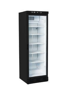 TopCold Koelkast met glazen deur en LED zwart 375 liter | 600x610xH1890mm