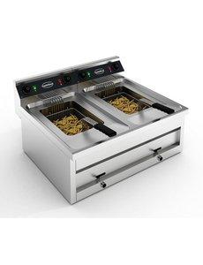Combisteel Friteuse tafelmodel 2x 12 liter | 400V - 2x 6kW | 800x700xH328 mm.