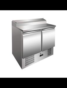 Gastro-Inox Saladette met 2 deuren en 5x GN1/6 klapdeksel | 900x700xH1010mm.