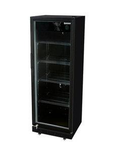 Gastro-Cool Koelkast met glazen deur 350 Liter zwart | GCGD360 | B620 x D635 x H1740 mm.