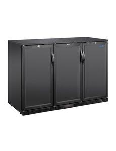 Polar Barkoeling met drie blinde klapdeuren zwart 320 liter | Laag model  | 135x52xH85 cm.