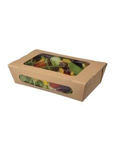 Colpac Colpac kraft saladebakken met venster en insteeksluiting 1L (200 stuks)