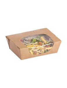 Colpac Colpac Zest kraft saladebakken met acetaat venster en insteeksluiting composteerbaar 825ml